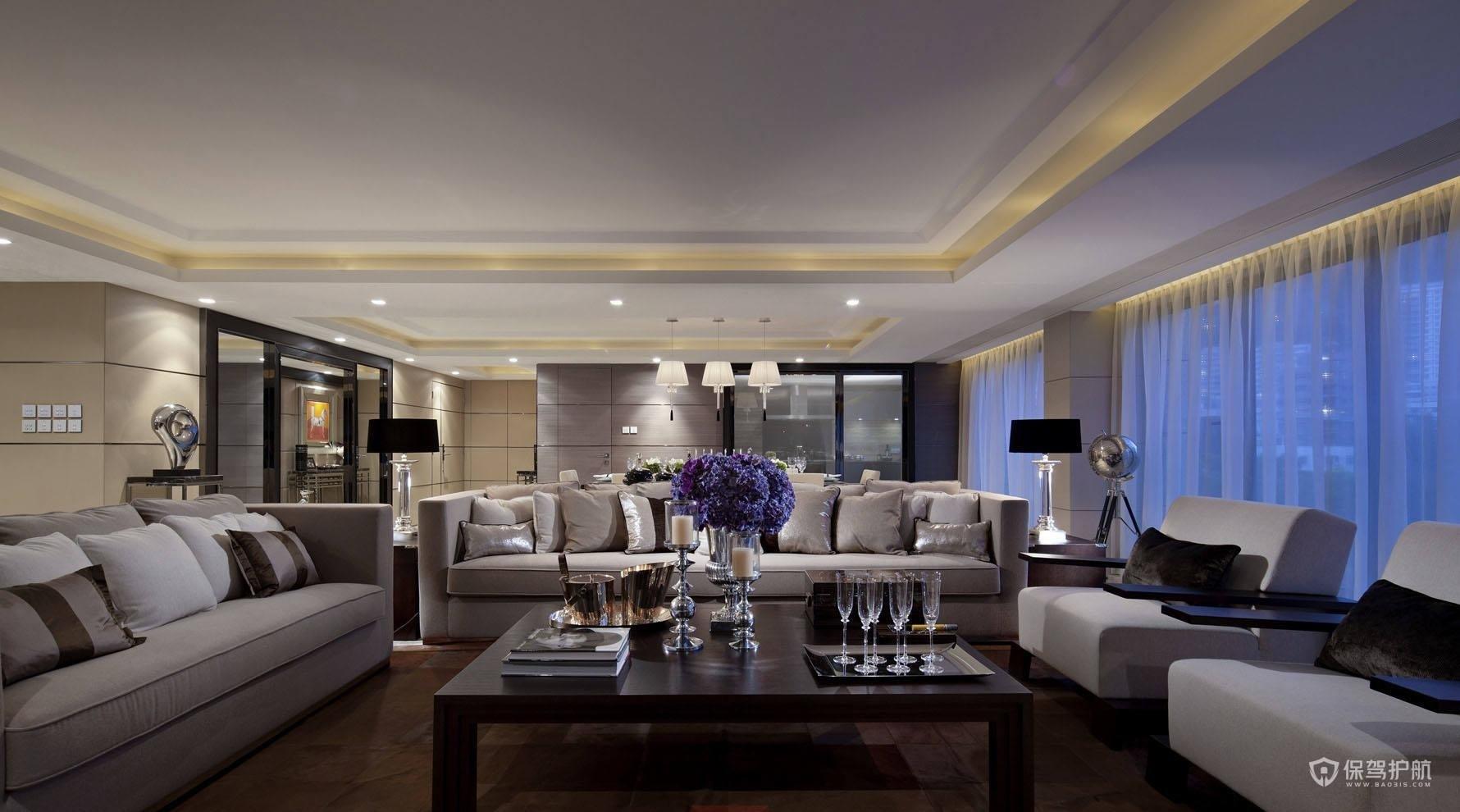 现代风格豪华别墅客厅装修效果图