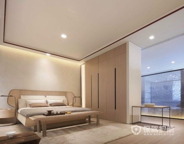 现代中式极简风卧室衣柜隔断装修效果图