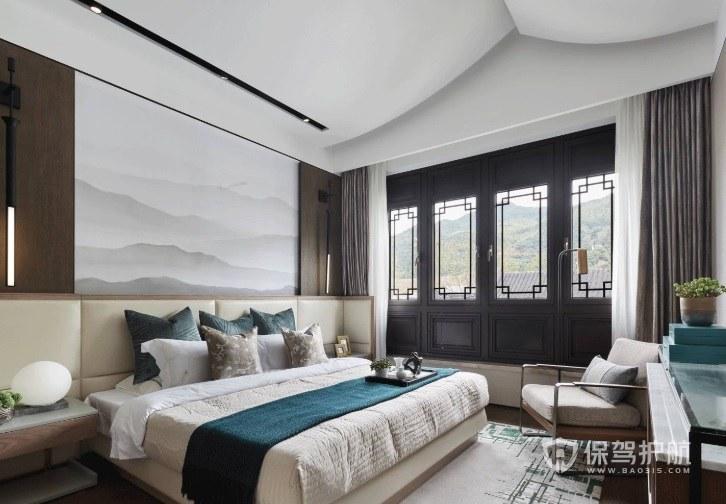 新中式阁楼卧室整排实木窗装修效果图…