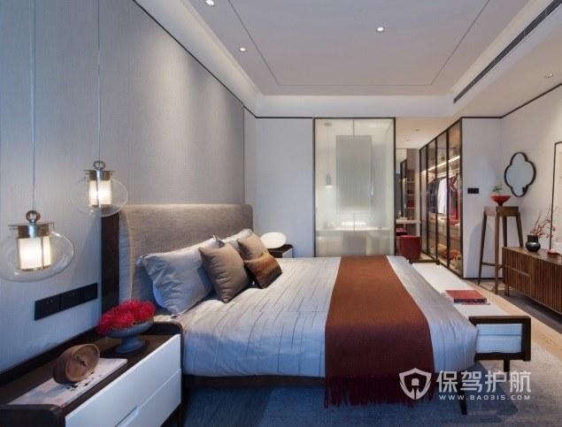 现代中式风卧室玻璃推拉门装修效果图