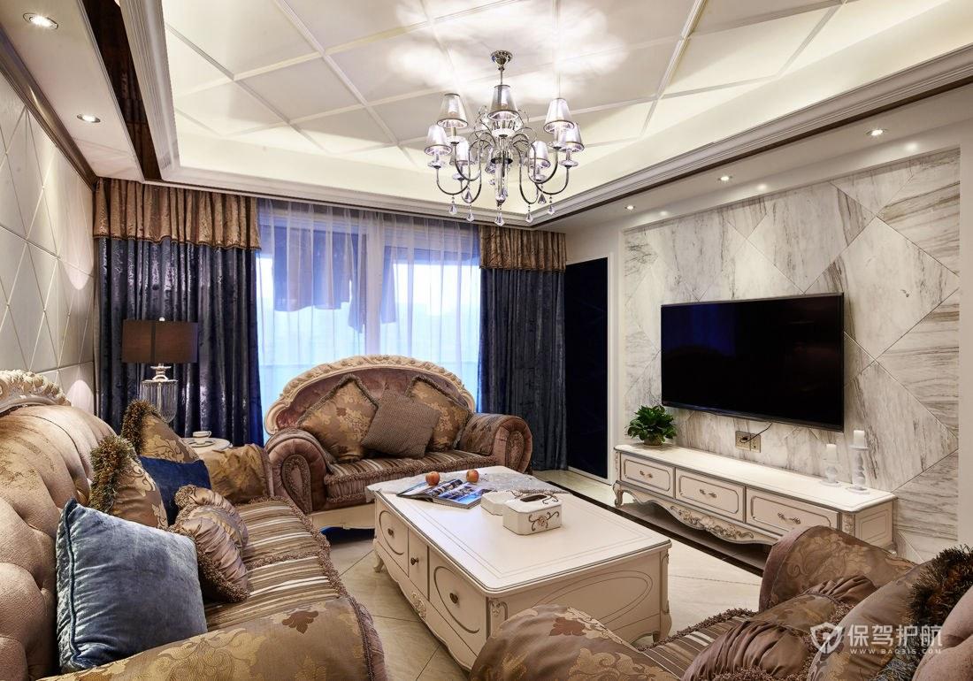 130平欧式风格三居室客厅装修效果图