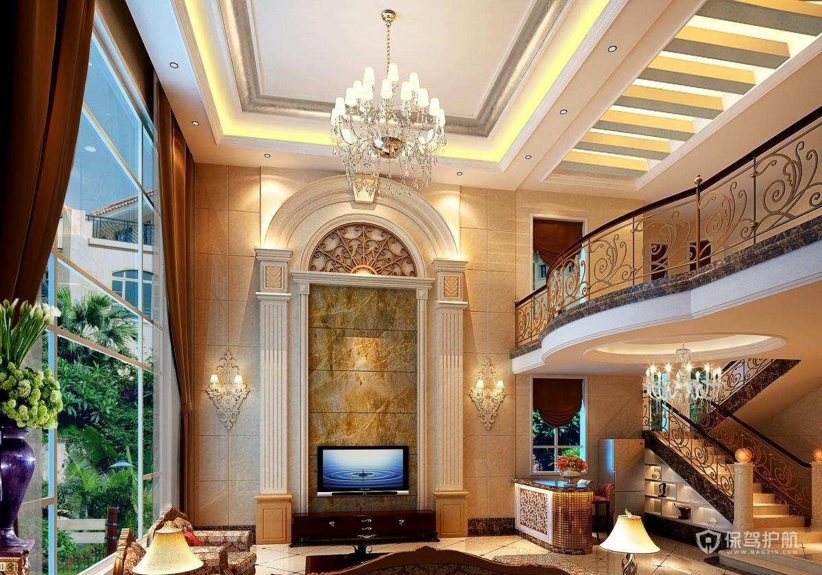 欧式风格别墅挑高客厅装修效果图
