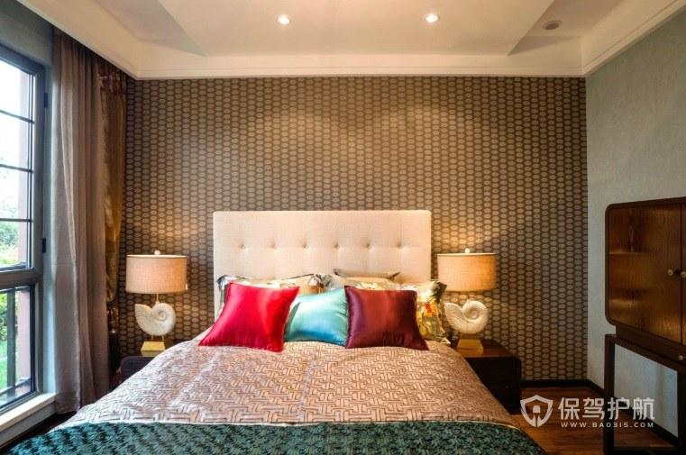 简约中式卧室壁纸背景墙装修效果图