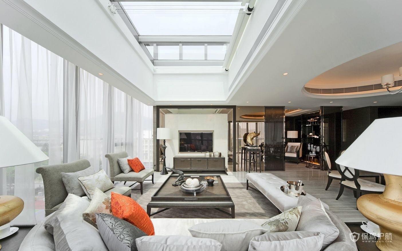 明亮新中式别墅客厅装修效果图