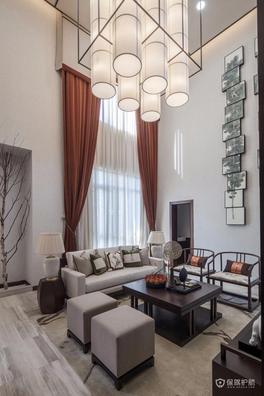 新中式风格别墅挑高客厅装修效果图