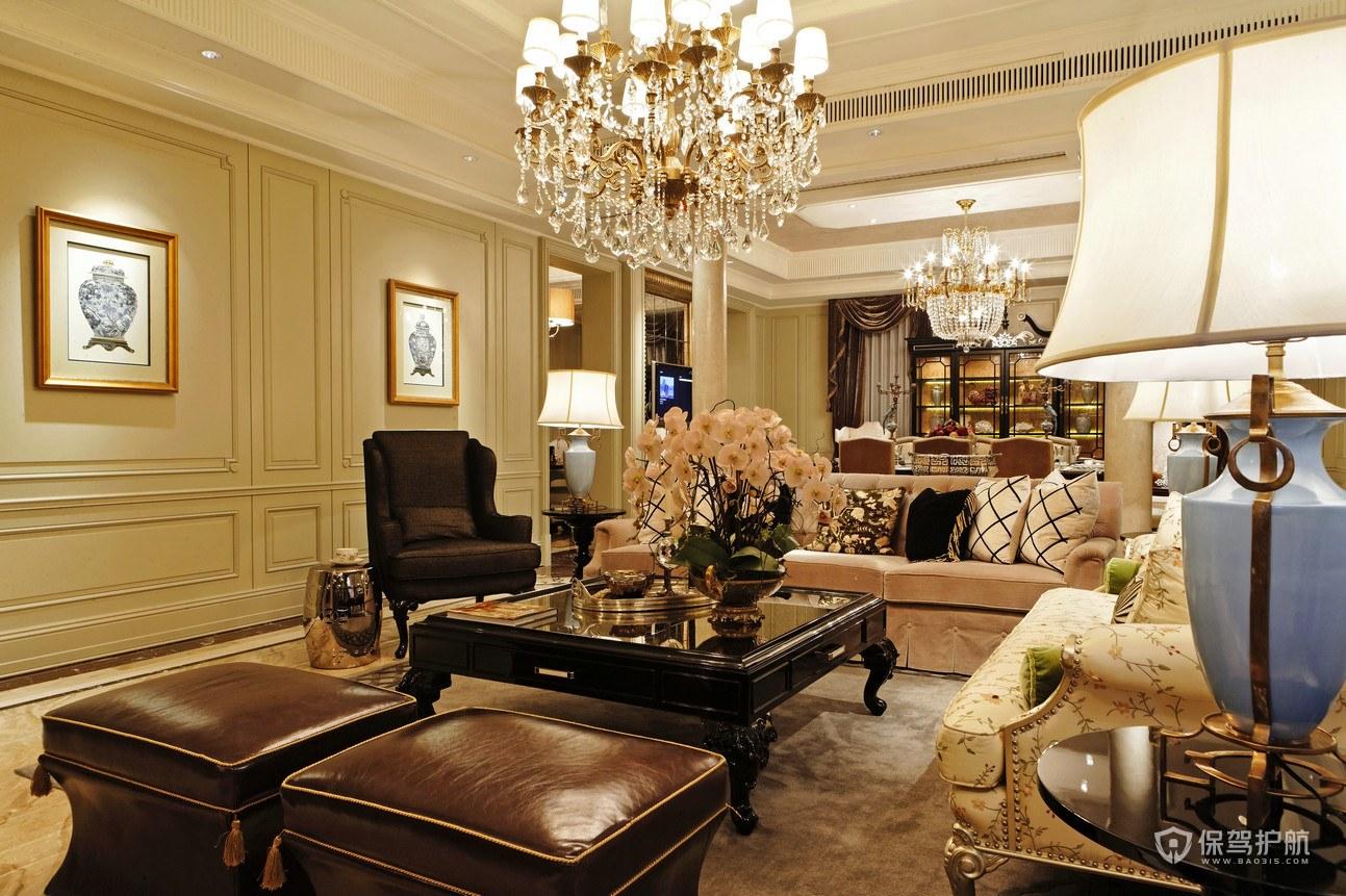豪华欧式风格别墅客厅装修效果图