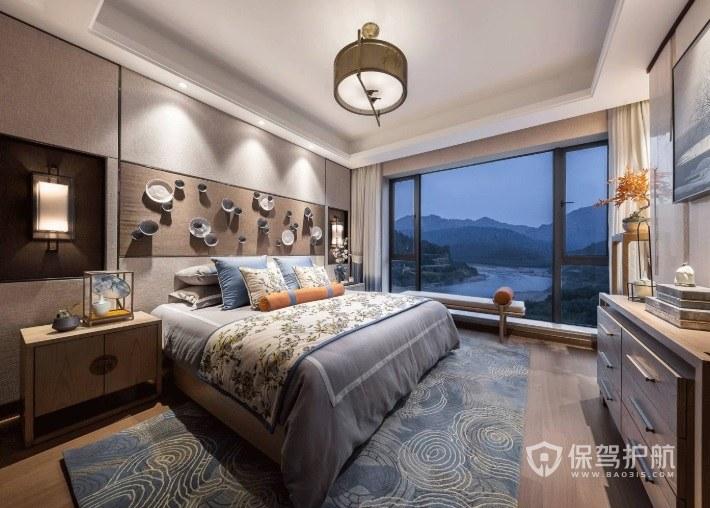 新中式创意卧室陶瓷背景墙装修效果图