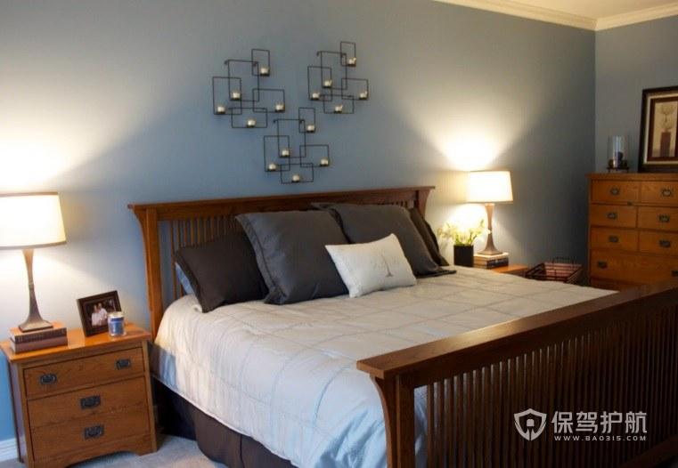新中式简约风卧室创意装饰灯架装修效…