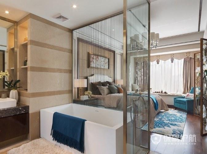 现代中式轻奢风卧室玻璃隔断装修效果图