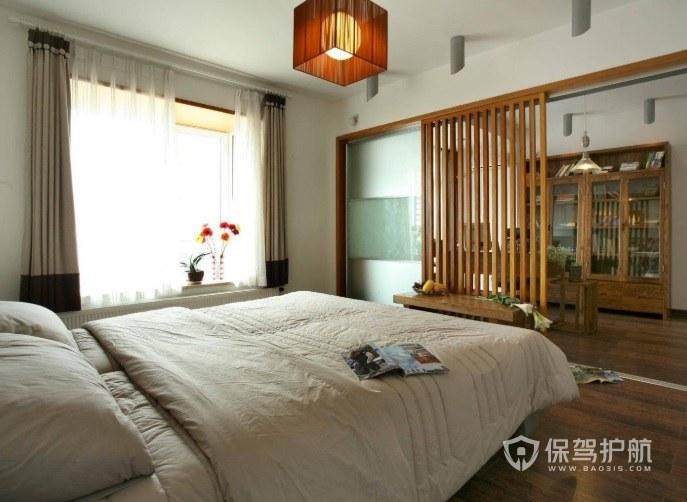 新中式卧室实木板条隔断装修效果图