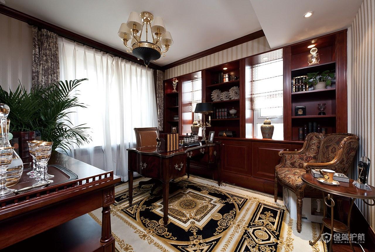 欧式风格别墅红木书房装修效果图