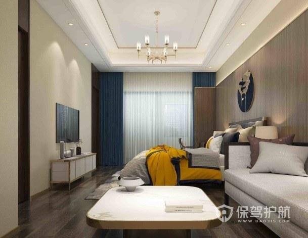 新中式卧室精致多头烛台吊灯装修效果图