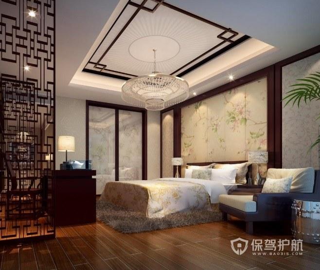中式混搭风卧室金属灯笼灯具装修效果图