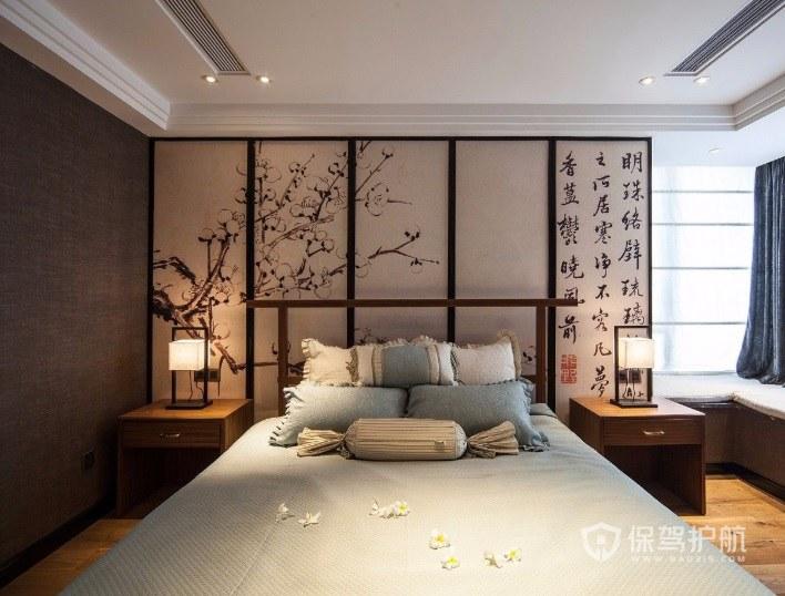 新中式文雅风卧室屏风背景墙装修效果图