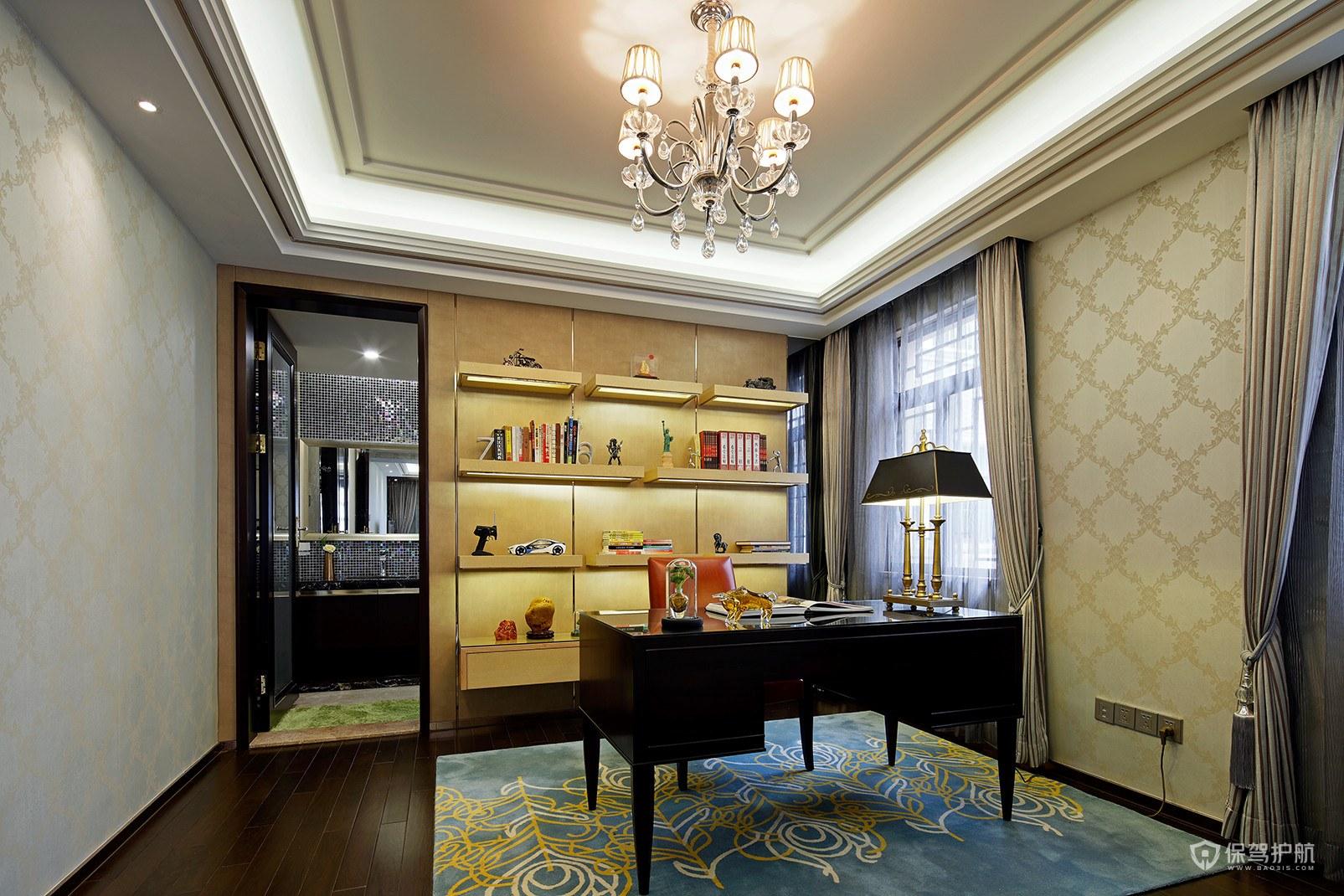奢华古典风格别墅书房装修效果图