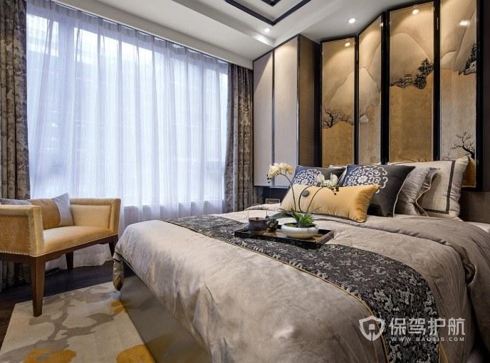 中式复古文艺风卧室屏风背景墙装修效果图