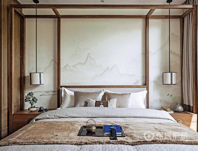 新中式淡雅风卧室背景墙山水画装修效果图
