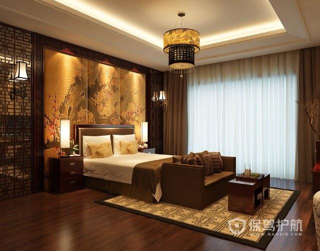 复古中式风卧室刺绣背景墙装修效果图…