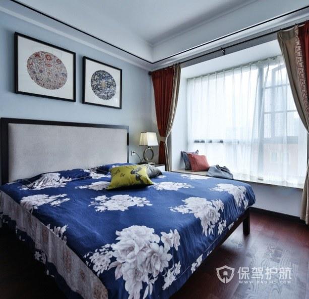 中式乡村风卧室大花纹家纺装修效果图