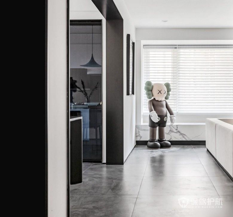 【极简黑白家装】120平三居室极简黑白家装案例