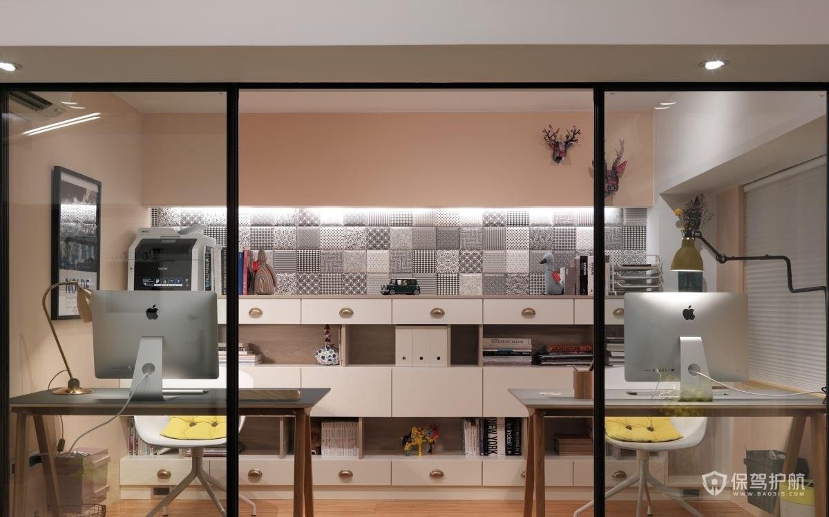 北歐風三居室雙人書房裝修效果圖