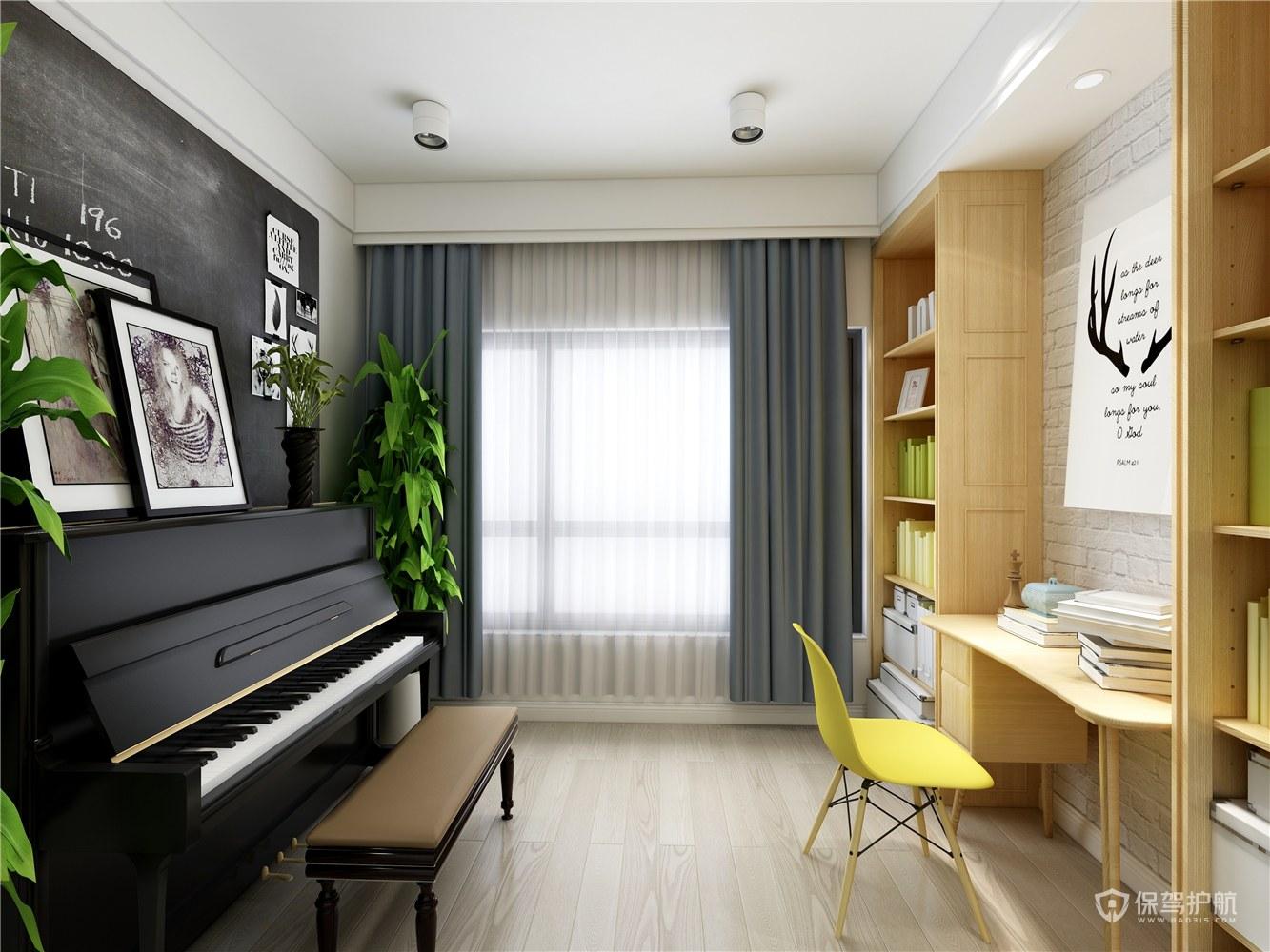北歐風格三居室書房琴房裝修效果圖