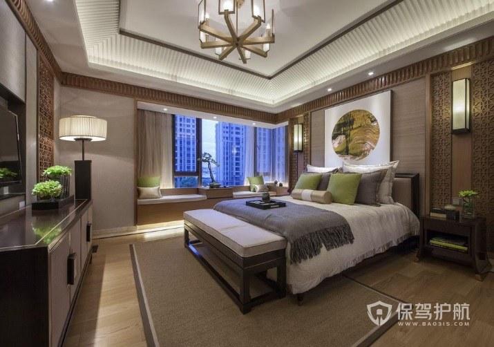 中式古典风别墅卧室吊顶装修效果图