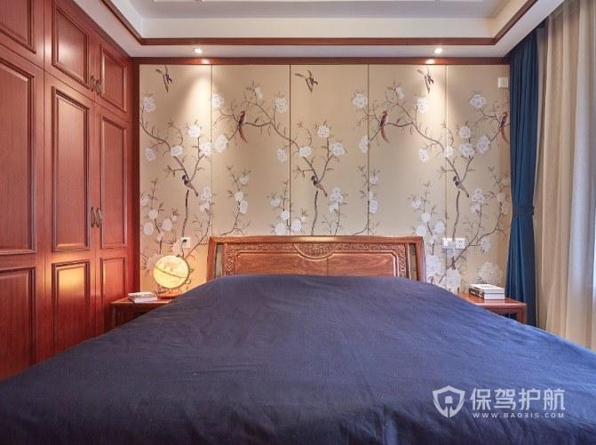 中式古典风卧室壁纸背景墙装修效果图…