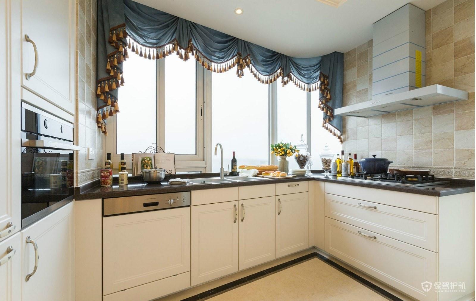 简约美式风格别墅厨房装修效果图