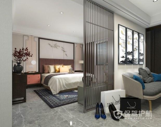 新中式卧室创意金属隔断板装修效果图