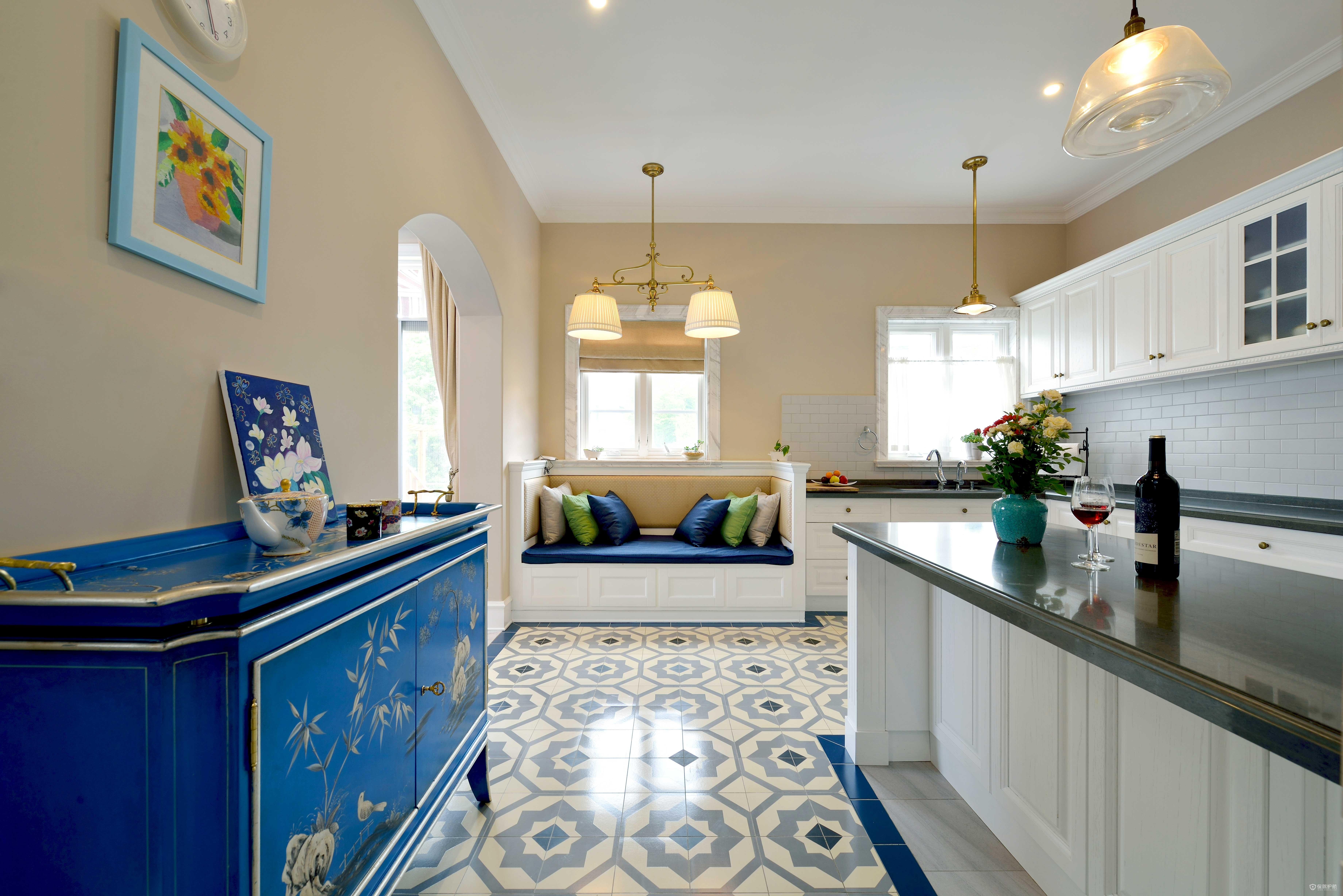 简约美式别墅厨房装修效果图
