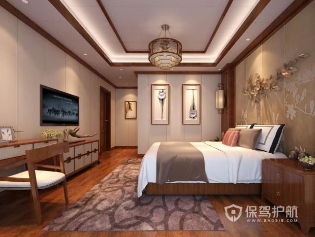 新中式轻奢风卧室创意吊灯装修效果图