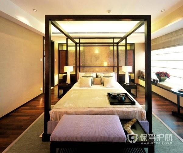 新中式古典风卧室床架装修效果图
