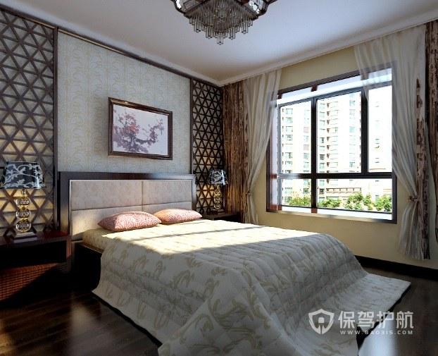 新中式卧室背景墙花板装修效果图