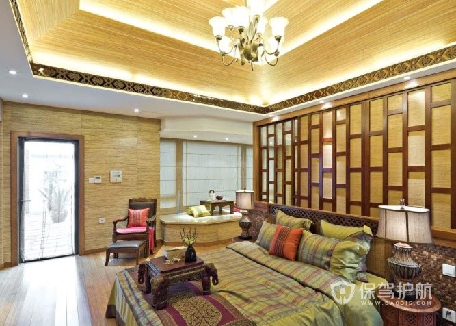 中式复古风卧室双层吊顶装修效果图