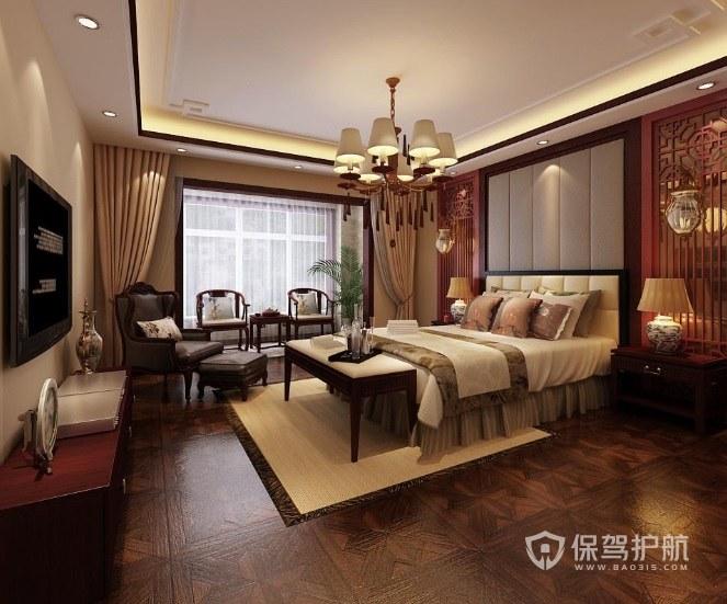 别墅新中式卧室欧式吊灯装修效果图