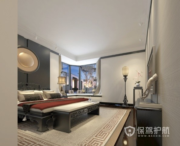 新中式古典风卧室罗汉床装修效果图