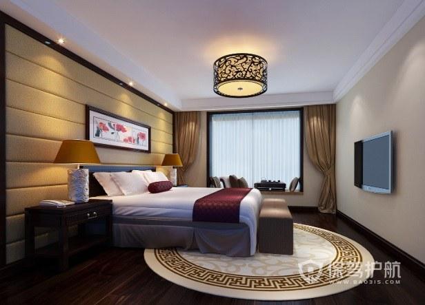 新中式轻奢风卧室软包背景墙装修效果图