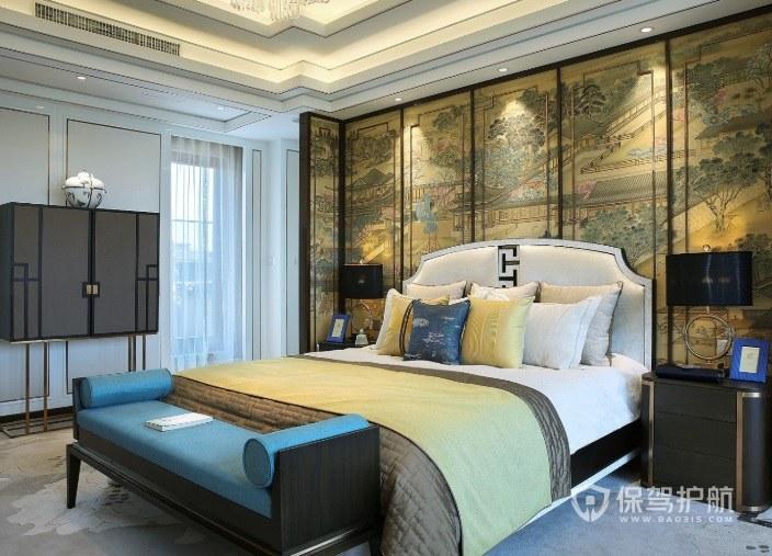 中式复古风卧室古典屏风装修效果图