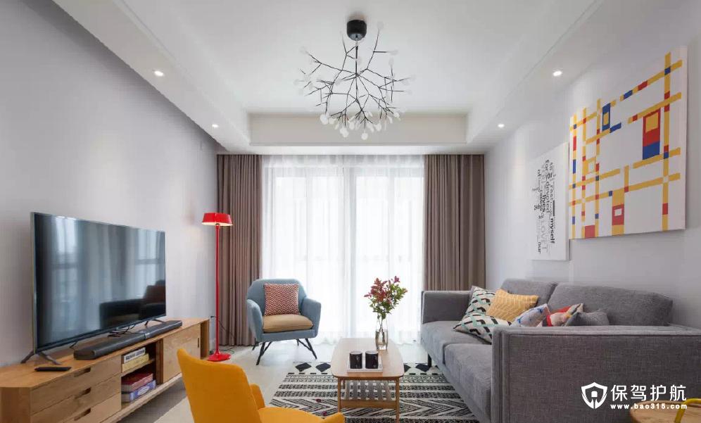 御景城120平北欧原木现代风格三居室装修效果图