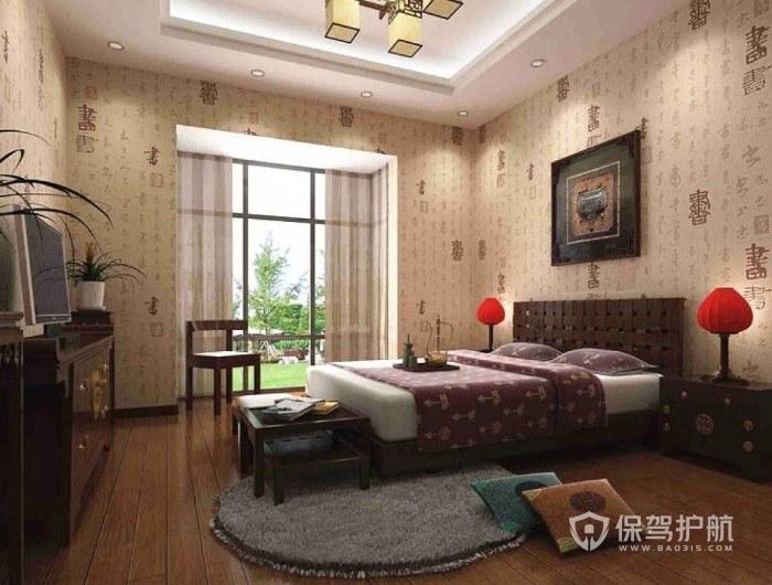 中式乡村风卧室禅意壁纸装修效果图