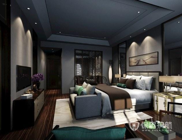 新中式轻奢风卧室窗花板隔断装修效果图