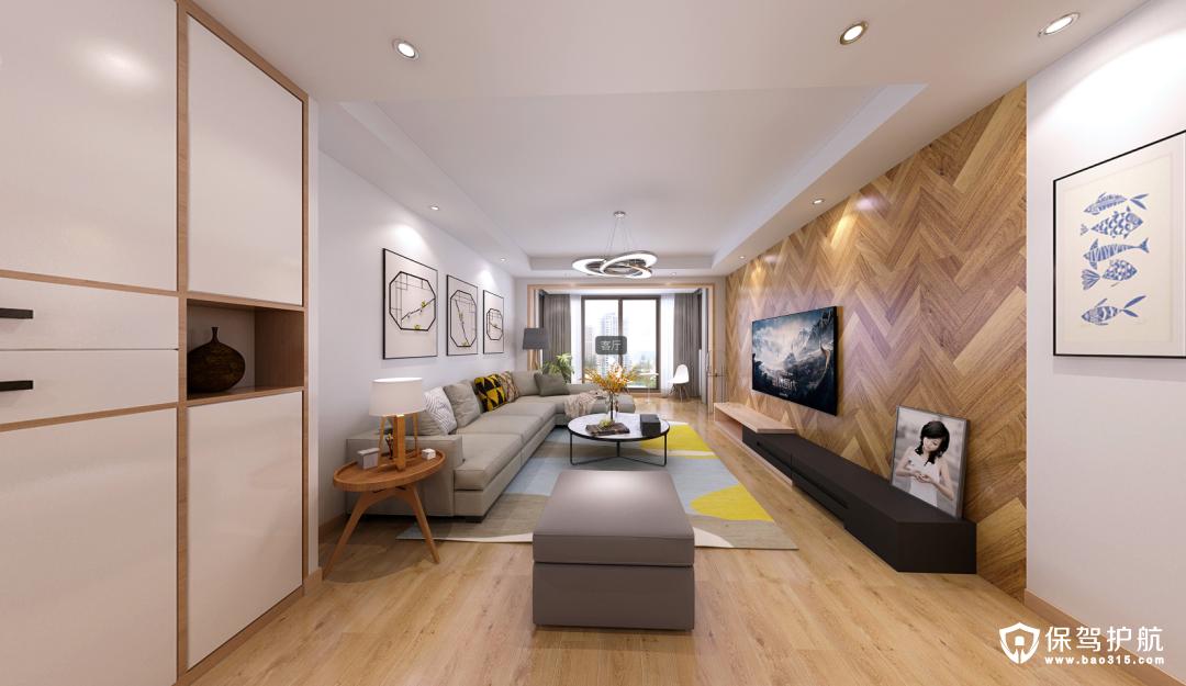 时代广场现代简约三居室装修效果图