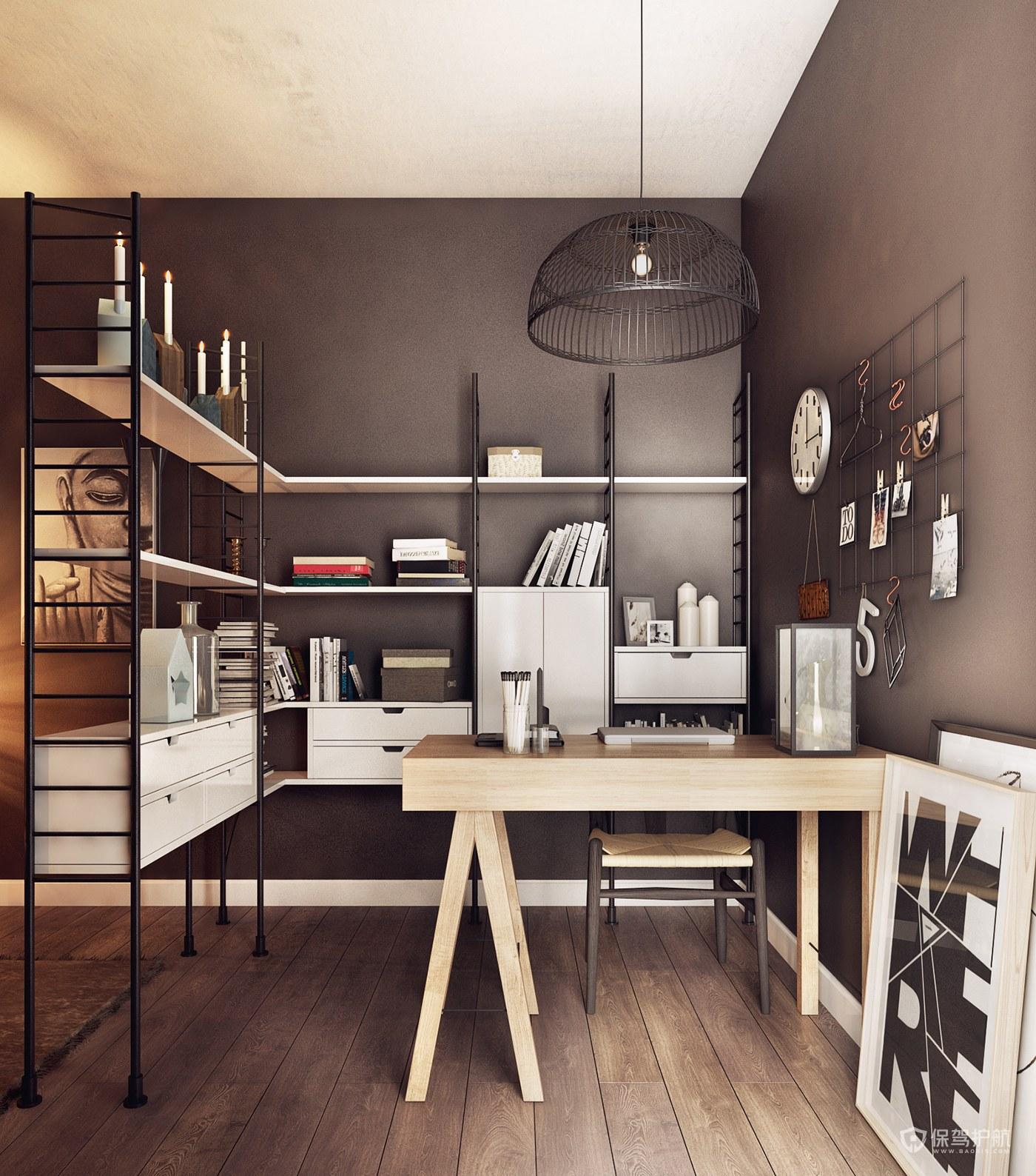 北欧混搭风公寓书房装修效果图