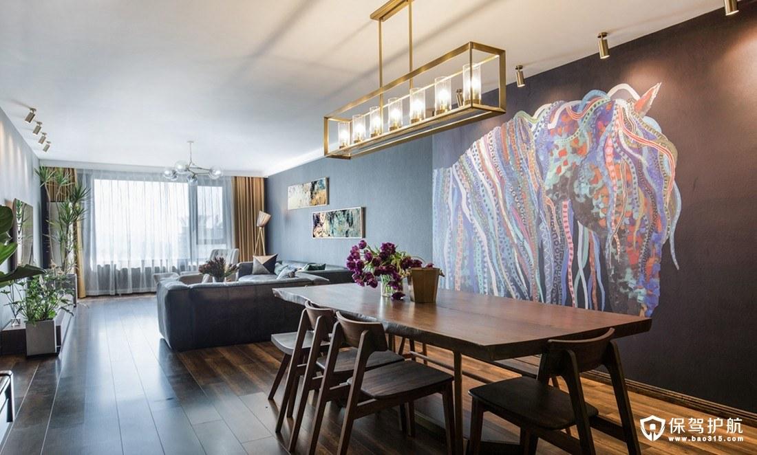 高级且舒适的现代暗黑风三居室装修效果图