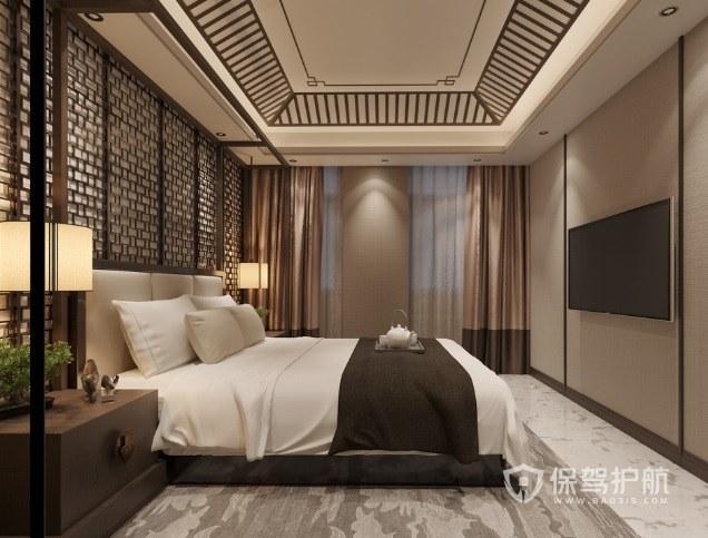 中式古典风卧室实木装饰吊顶装修效果图
