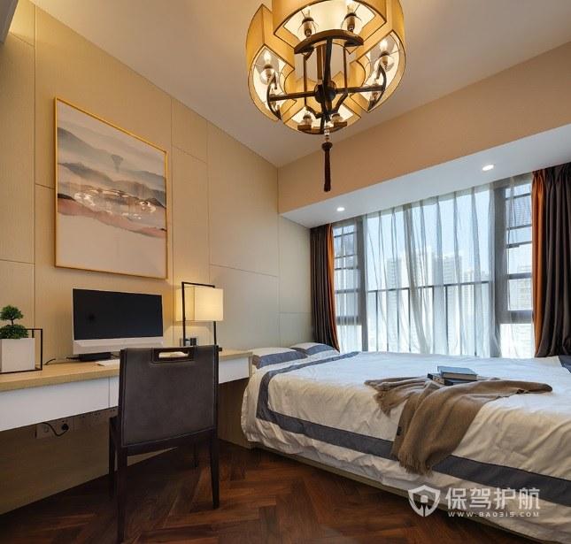 新中式复古风卧室灯笼形灯饰装修效果图