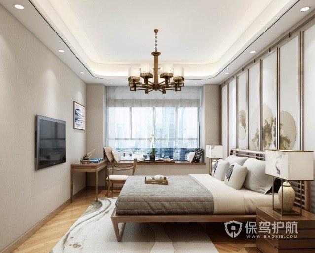 新中式淡雅风卧室墙板装饰画装修效果图