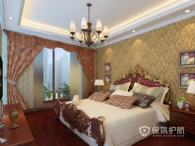 欧式复古风卧室雕花床装修效果图