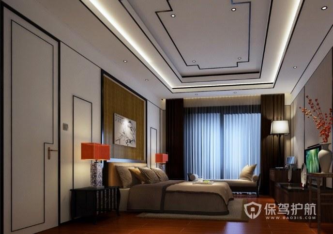 新中式簡約風臥室隱形門裝修效果圖